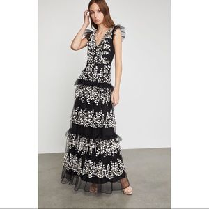 BCBGMAXAZRIA Foral Vine Applique gown dress